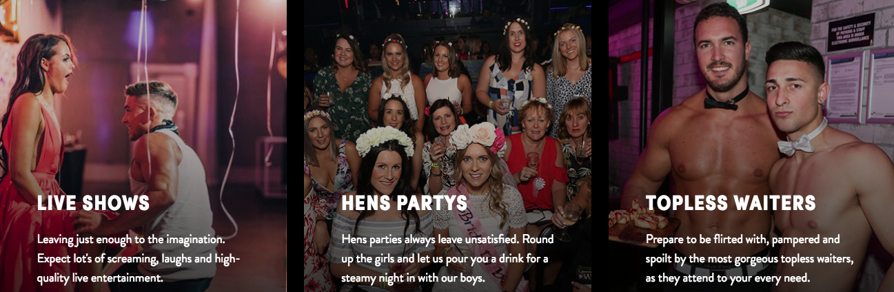 live shows - hens party - topless waiters